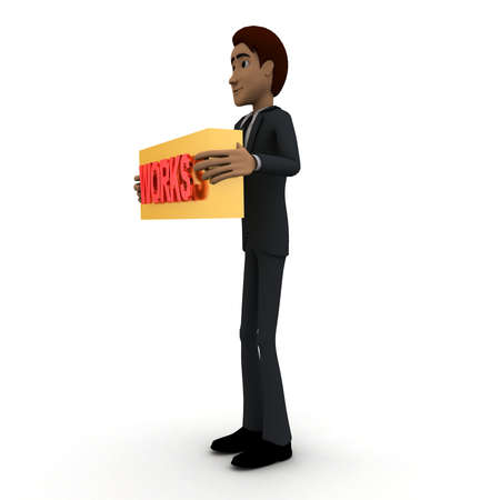works: 3d man standing with works text in round shape concept on white background, side angle view
