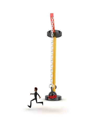 heavy weight: 3d man running from big and heavy weight hammer on which CRISIS is written concept on white  front angle view