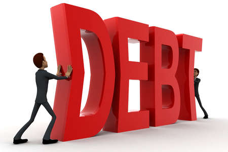 crunches: 3d two men push crunch red debt text concept on white  side angle view