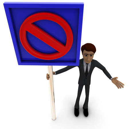 top angle view: 3d man standing with closed sign board concept on white background, top angle view