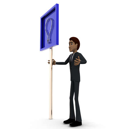 guy standing: 3d man standing with idea sign board concept on white background, side angle view Stock Photo
