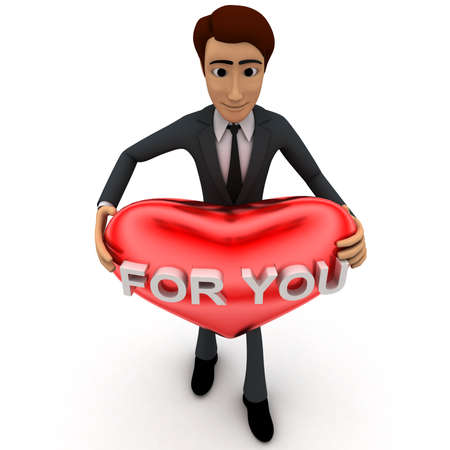 at it: 3d man holding heart and for you text on it concept on white  top angle view
