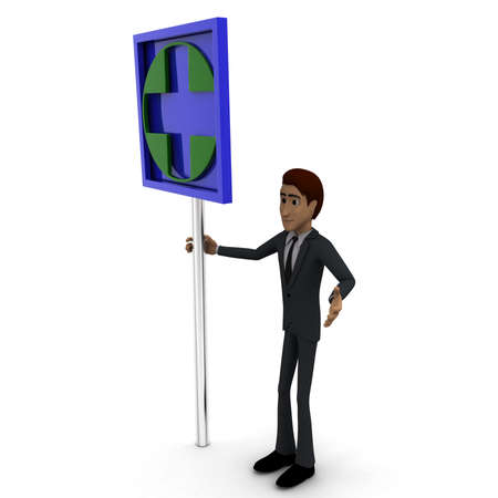 green cross: 3d man standing with green cross sign board concept on white background, side angle view