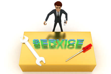 top angle view: 3d man with service text and wrench concept on white background, top angle view
