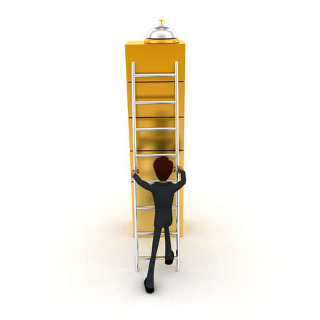 climbing stairs: 3d man climbing stairs for bell on top concept on white background, front angle view