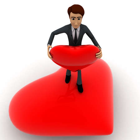 hans: 3d man standing on heart and holding red heart in hans concept on white  top angle view