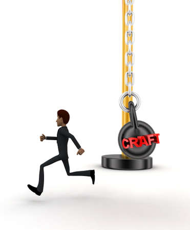 heavy weight: 3d man running from big and heavy weight hammer on which CRAFt is written concept on white  front angle view