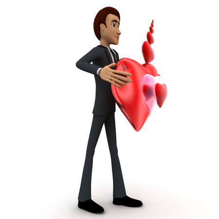 shiny heart: 3d man holding red shiny heart in hand and heart shaped bubbles concept on white  side angle view
