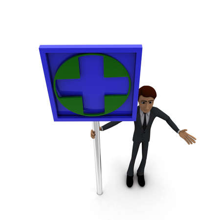 green cross: 3d man standing with green cross sign board concept on white background, top angle view