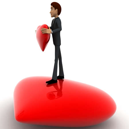 hans: 3d man standing on heart and holding red heart in hans concept on white   side angle view Stock Photo