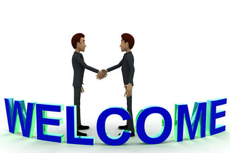 front angle: 3d man doing hand shake and blue WELCOME text concept on white  front angle view