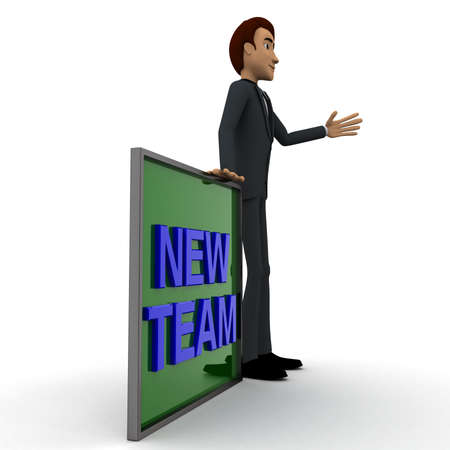 one team: 3d man wave one hand and with blue NEW TEAM text on board concept on white  side angle view