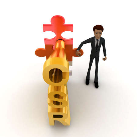 top angle view: 3d man standing with csr text in puzzle shape concept on white background, top angle view