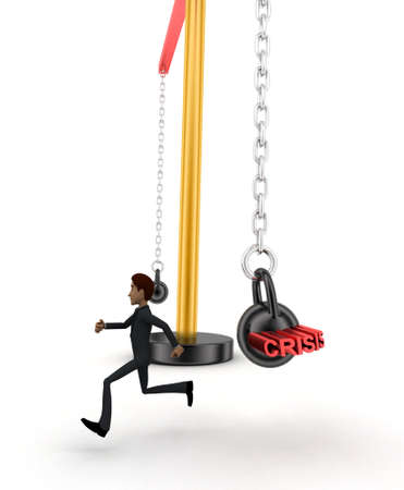 heavy weight: 3d man running from big and heavy weight hammer on which CRISIS is written concept on white  side angle view