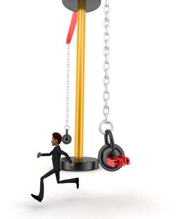 heavy weight: 3d man running from big and heavy weight hammer on which FAQ is written concept on white  front angle view
