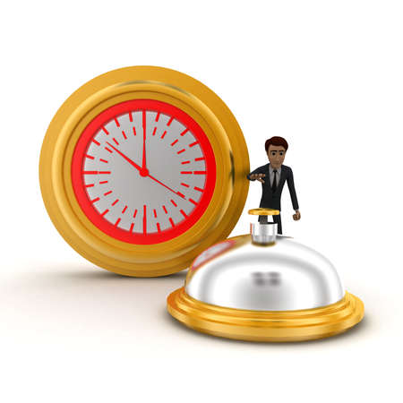 aside: 3d man riging bell standing aside clock concept on white background, front angle view Stock Photo