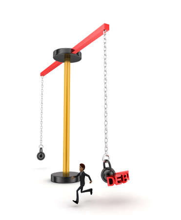 work load: 3d man running from big and heavy weight hammer on which WORK LOAD is written concept on white  side angle view