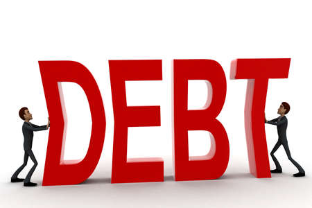 crunches: 3d two men push crunch red debt text concept on white  front angle view