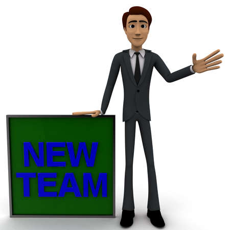 one team: 3d man wave one hand and with blue NEW TEAM text on board concept on white  front angle view