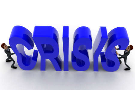crunch: 3d two men push crunch blue loss text concept on white  top angle view Stock Photo
