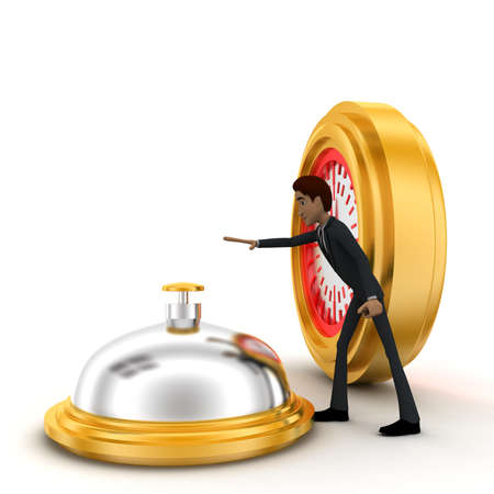 aside: 3d man riging bell standing aside clock concept on white background, side angle view