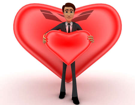 shiny heart: 3d man holding red shiny heart in hand and heart shaped bubbles concept on white  front angle view