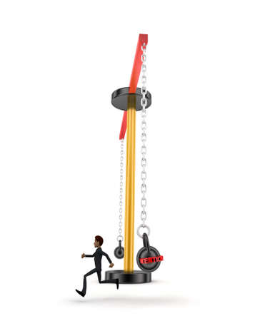 work load: 3d man running from big and heavy weight hammer on which WORK LOAD is written concept on white  front angle view