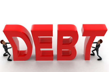 crunch: 3d two men push crunch red debt text concept on white   top angle view Stock Photo
