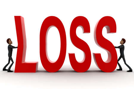 crunch: 3d two men push crunch red loss text concept on white  front angle view