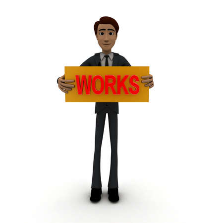 accelerate: 3d man standing with works text in round shape concept on white background, front angle view