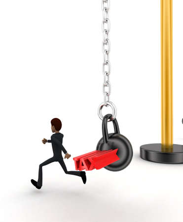 heavy weight: 3d man running from big and heavy weight hammer on which TAX is written concept on white  side  angle view