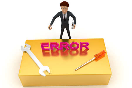 errors: 3d man with error text and wrench concept on white background, top angle view Stock Photo