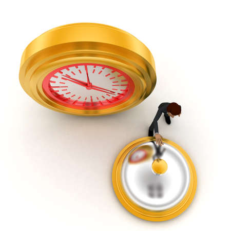aside: 3d man riging bell standing aside clock concept on white background, top angle view