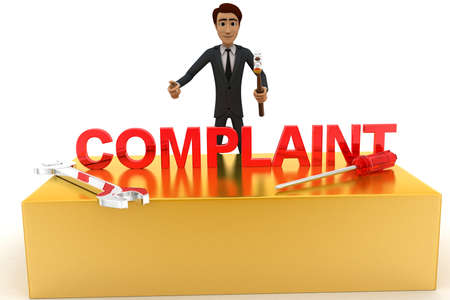 complaint: 3d man with complaint text and wrench concept on white background, front angle view Stock Photo