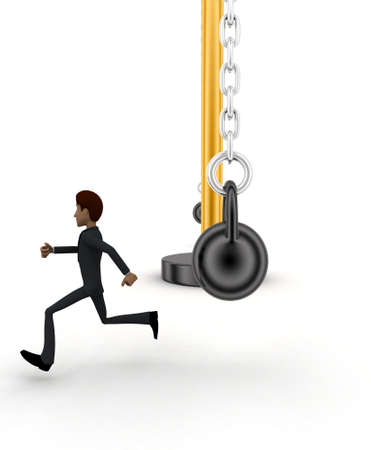 heavy weight: 3d man running from big and heavy weight hammer concept on white  front angle view
