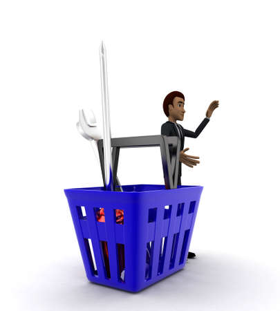 it is full: 3d man with basket full of mechanical tools in it concept on white background - 3d rendering , side angle view