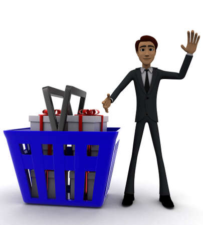 gift basket: 3d man with basket and gift boxes in it concept on white background - 3d rendering , front angle view Stock Photo