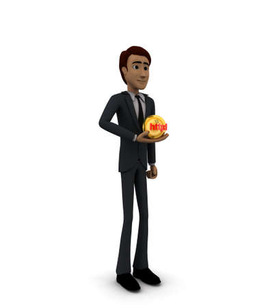 http: 3d man holding sphere with HTTP text on it concept on white background - 3d rendering , side angle view
