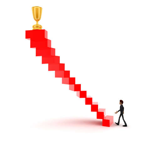 upwards: 3d man walking upwards to  golden trophy  with the help of stairs concept in white isolated background , side angle view Stock Photo