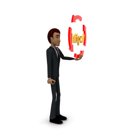 http: 3d man holding four arrows  in circular shape and HTTP text inside it concept on white background - 3d rendering , side angle view