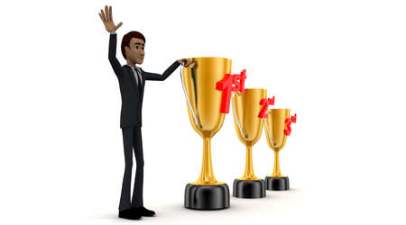 2nd: 3d man with 1st, 2nd and 3rd award cups concept on white background - 3d rendering , side angle view