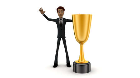 front angle: 3d man with golden trophys cup  concept on white background - 3d rendering , front angle view Stock Photo