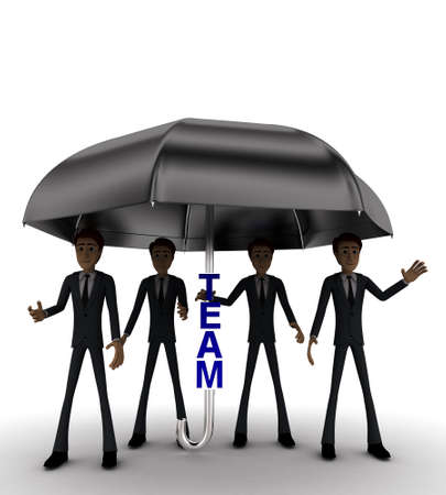 under view: 3d men under umbrella with team text concept on white background - 3d rendering , front angle view Stock Photo