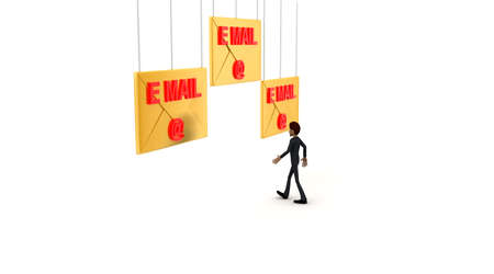 towards: 3d man walking towards email -text mail letter concept  on white background - 3d rendering ,  side angle view