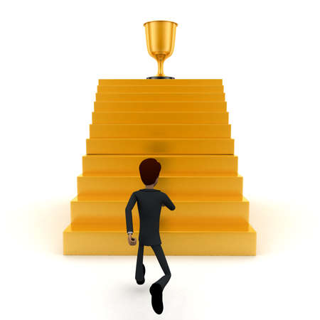 towards: 3d man running towards steps with trophy on top concept on white background - 3d rendering , front angle view Stock Photo
