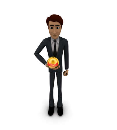 http: 3d man holding sphere with HTTP text on it concept on white background - 3d rendering ,  top angle view