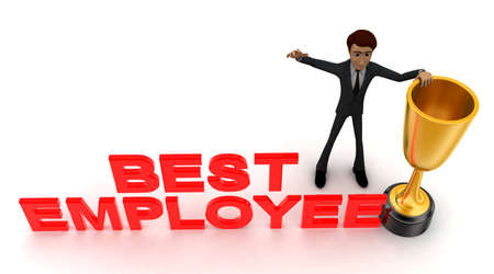 best employee: 3d man with BEST EMPLOYEE and golden cup of winner concept on white background - 3d rendering , top angle view