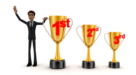 3rd: 3d man with 1st, 2nd and 3rd award cups concept on white background - 3d rendering , front angle view
