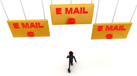 towards: 3d man walking towards email-text mail letter concept on white background - 3d rendering ,  top angle view