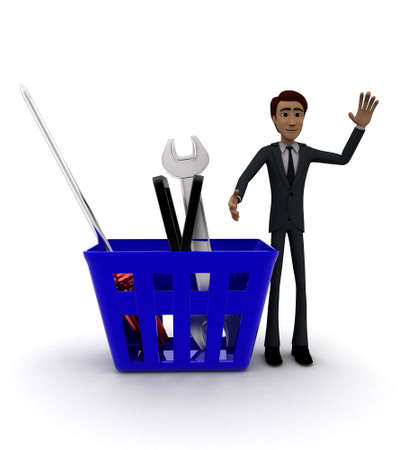 it is full: 3d man with basket full of mechanical tools in it concept on white background - 3d rendering , front angle view